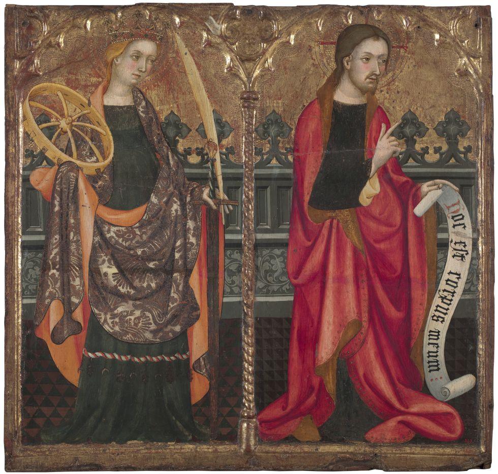 Compartimentos de la predela con Santa Caterina de Alexandria y Jesucristo, de Lluís Borrassà, de la dacción de Gallardo.