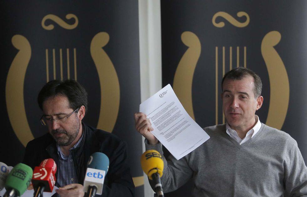 El director de la Quincena, Patrick Alfaya, junto a Iñigo Arteche, responsable Evaluación y Consultoría de Ikertalde.