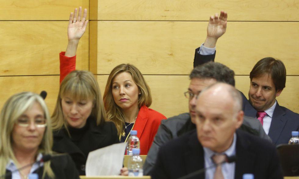 Patricia Arenas, en segundo plano de rojo, vota una de las mociones del pleno de este jueves.