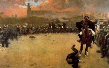'La carga', obra de Ramon Casas que se conserva en el Museo Comarcal de la Garrotxa, Olot.