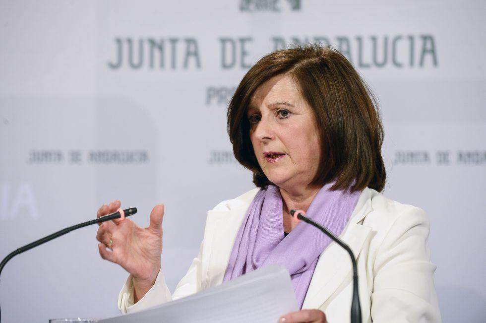 La consejera de Igualdad, María José Sánchez Rubio, este martes en el Palacio de San Telmo, en Sevilla.