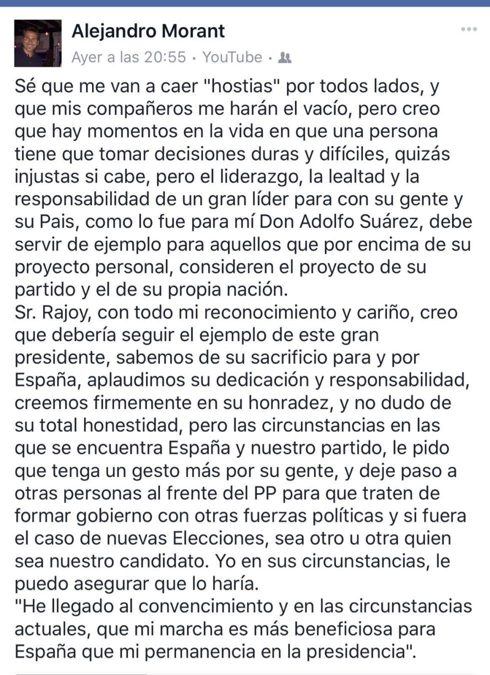 Un líder del PP alicantino pide a Rajoy que deje paso