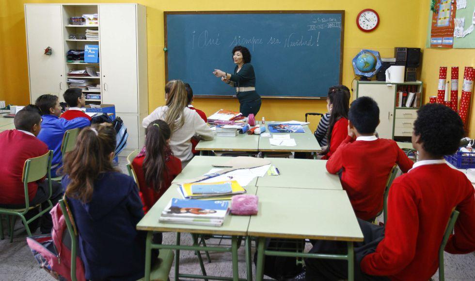 Clase del colegio público Vasco Núñez de Balboa, con mayoría de alumnos gitanos.