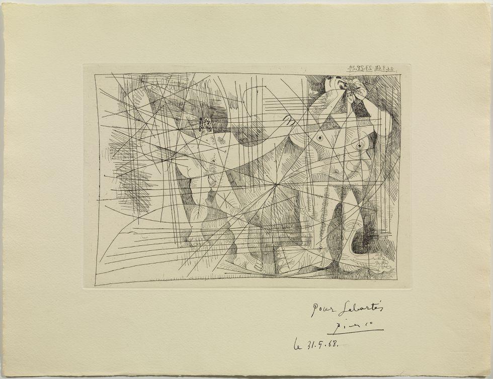 'Pareja', el grabado de Picasso de 1968 donado en 2013 al Museo barcelonés de forma anónima.