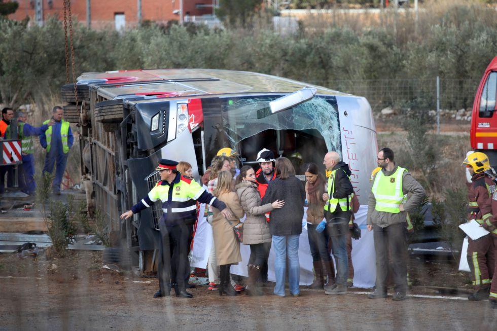 El autobús accidentado el pasado domingo el Freginals.rn