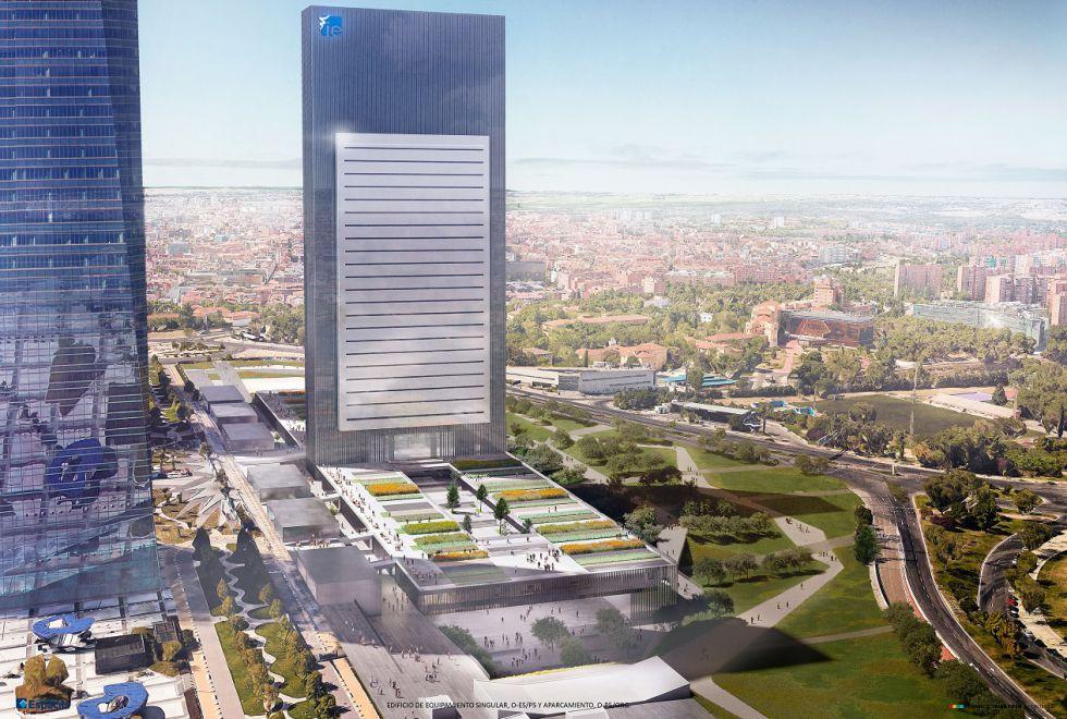 Maqueta de la futura quinta torre de La Castellana, que albergará un campus educativo.