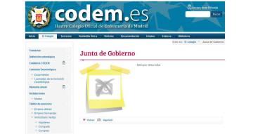 Página web del colegio de enfermería de Madrid.