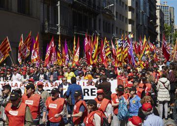 Primero de Mayo con amenaza de huelga general en Barcelona