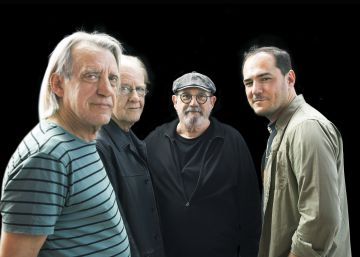 Luis Pastor, Aute, Silvio Rodríguez e Ismael Serrano durante el ensayo del concierto gratuito de Vallecas.