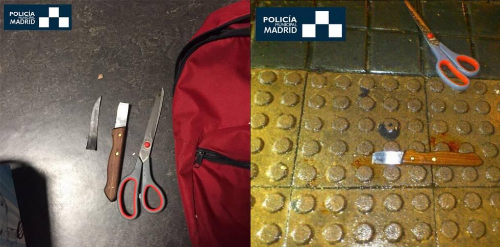 Armas requisadas al presunto autor de las cuchilladas.