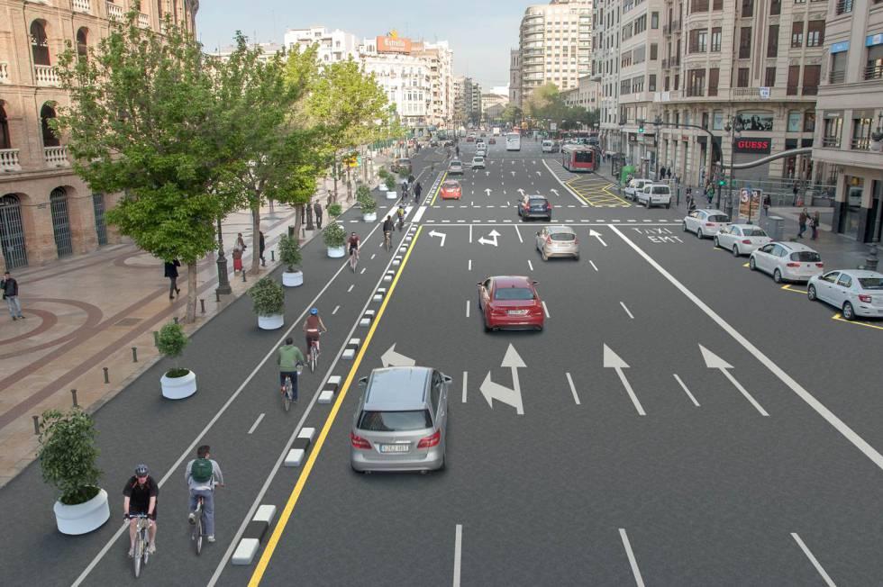 Futuro carril bici de Valencia a la altura de la plaza de Toros.