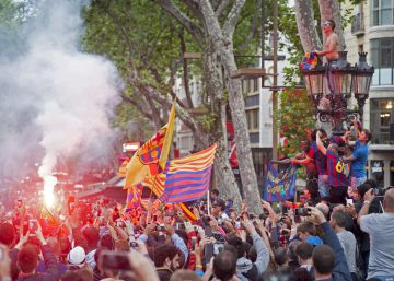 2.500 aficionados celebran la Liga 'culer' en Canaletes