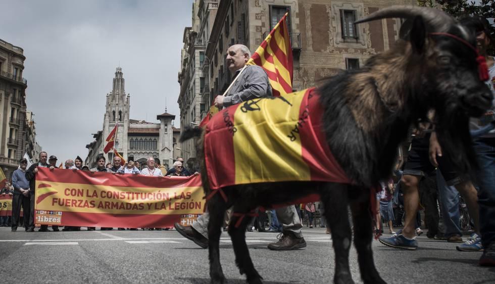 Manifestación de legionarios, hoy en Barcelona.
