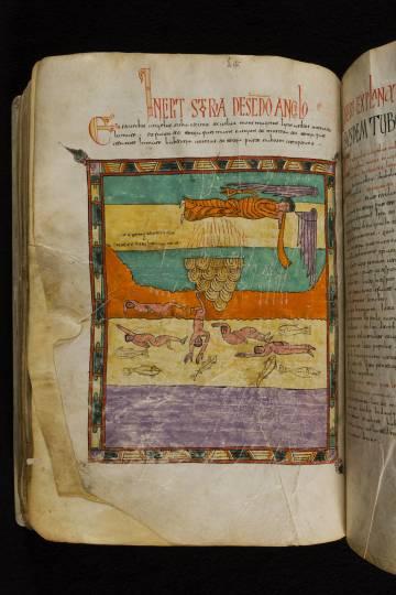 Una de las páginas miniadas del Beato, una vez intervenido el libro.