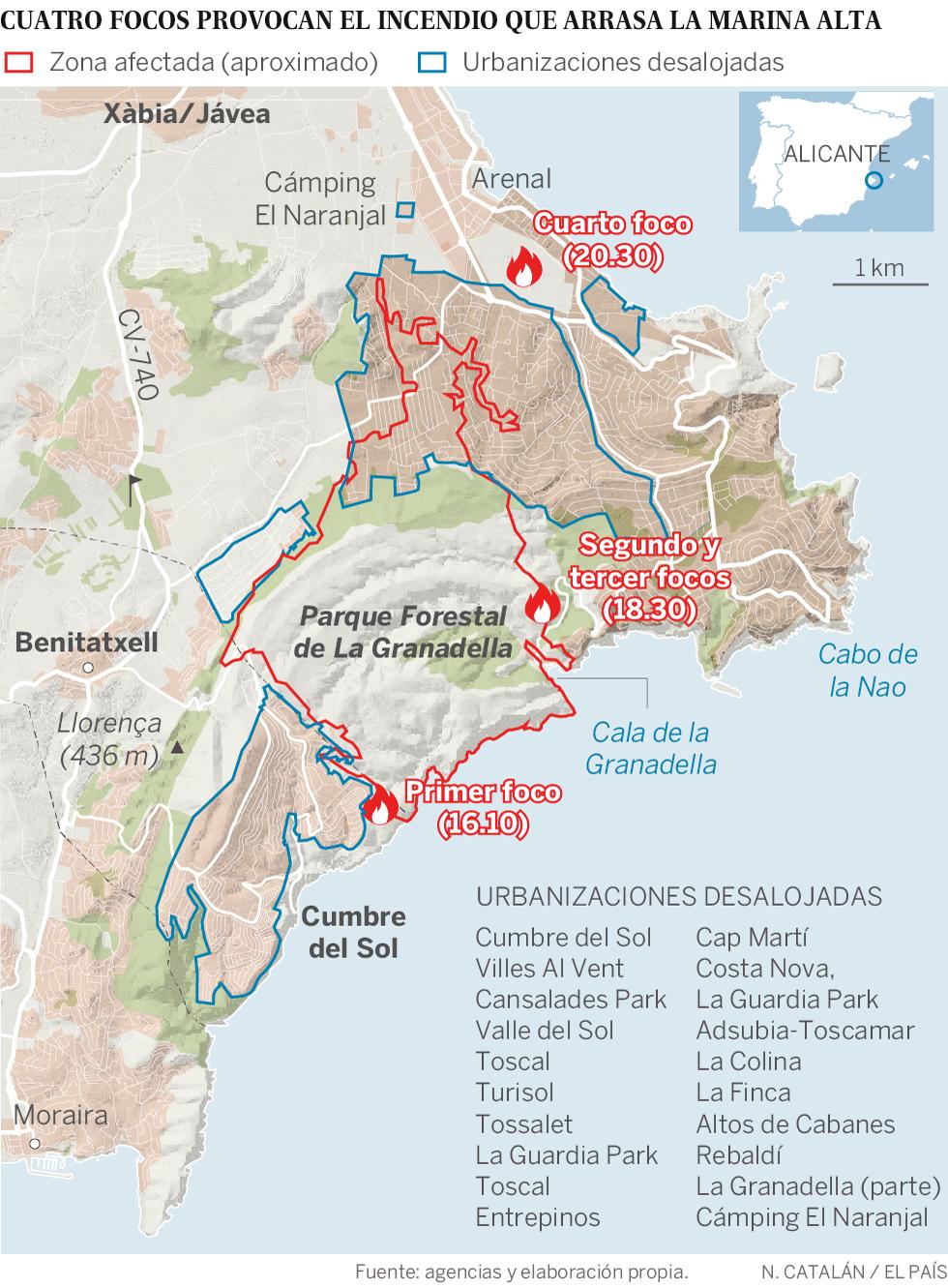 Mapa del incendio en Benitatxell y Xàbia
