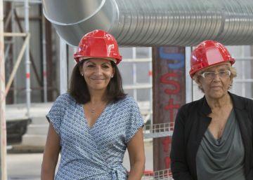 Carmena visita las obras del centro de refugiados de París