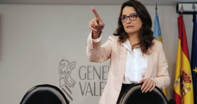 La portavoz del Consell, Mónica Oltra, antes de su comparecencia.