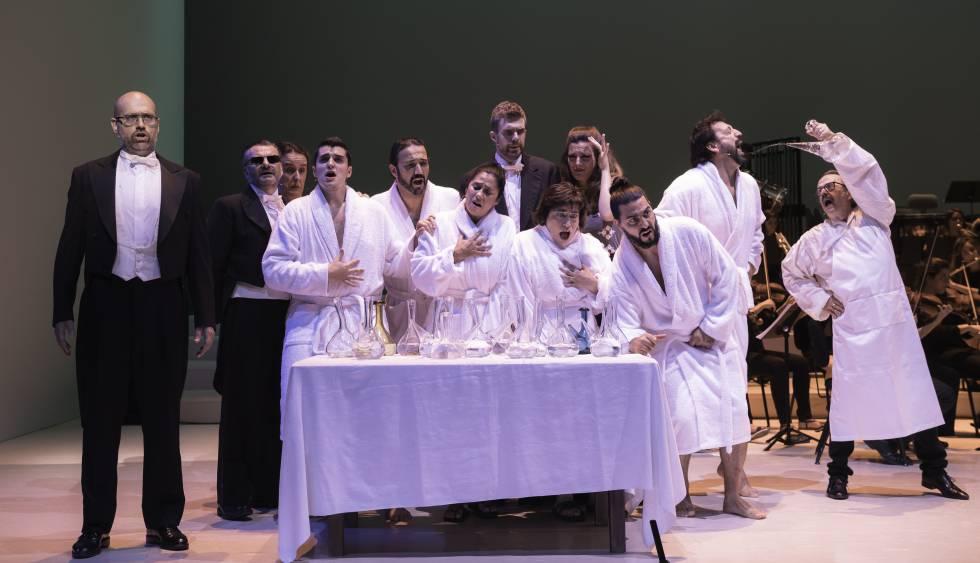 Los bañistas de Caldes cantando mientras beben en porrón.