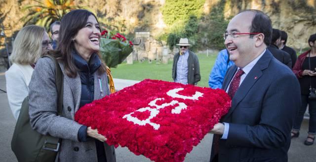 Núria Parlon y Miquel Iceta en el homenaje a Lluís Companys.