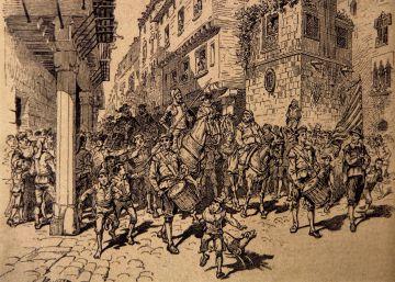 Quijote y su fiel 'escudero' Rico, en los molinos de Barcelona