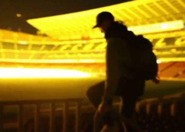 Dos jóvenes escalan de noche el Camp Nou y publican un vídeo de su hazaña