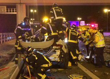 Un kamikaze provoca una triple colisión en la M-30 de Madrid