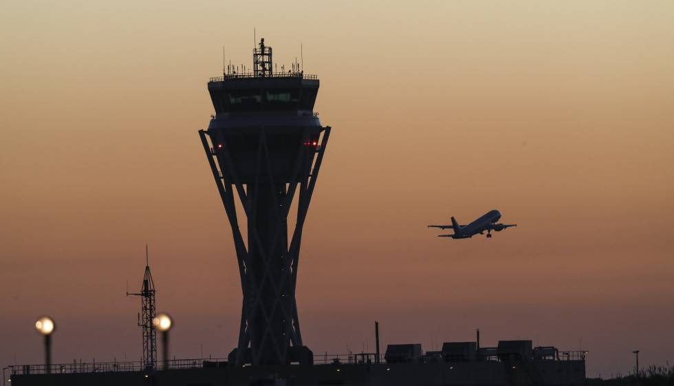 Aiport control tower in Barcelona.