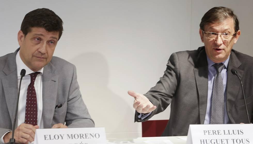 Eloy Moreno i Pere Lluís Huguet, durante la presentación del manifiesto.