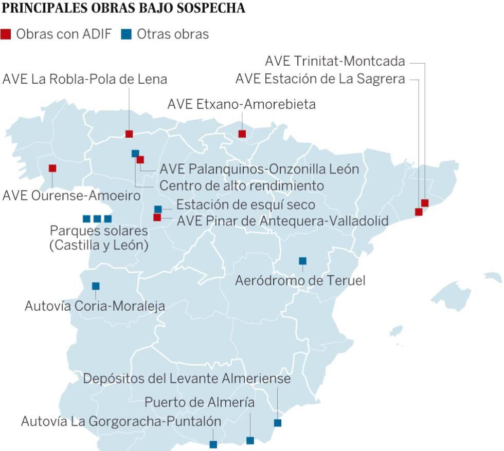 La red de sobornos en obras del AVE se extiende a toda España