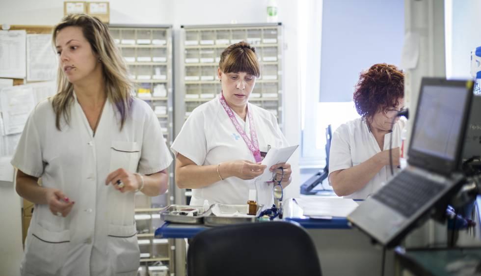 Un grupo de enfermeras en un hospital de Barcelona