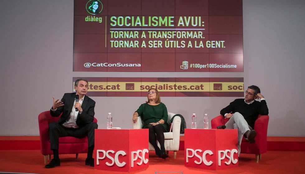 Zapatero (izquierda) y Madina (derecha), durante el acto en el PSC.