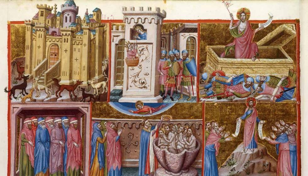 Salterio anglocatalán de París, una de las miniaturas pintada por Ferrer Bassa.