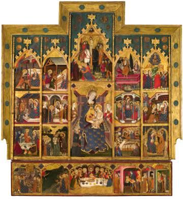 Retablo de la Virgen (1363-1365), proveniente del Monasterio de Sijena y firmado por Pere Serra.