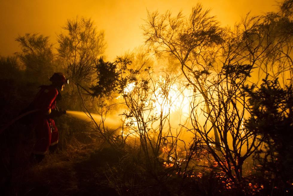 Incendio en Cualedro (Ourense) en agosto de 2015.