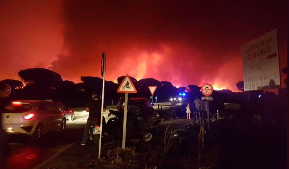 Imagen del incendio en la carretera de Moguer a Matalascañas