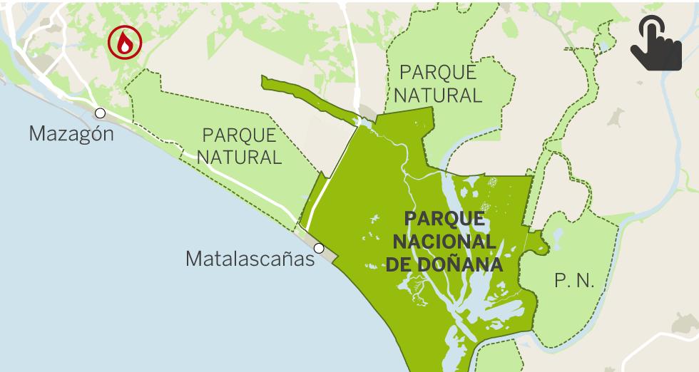 Un gran incendio cerca el corazón de Doñana avivado por el viento