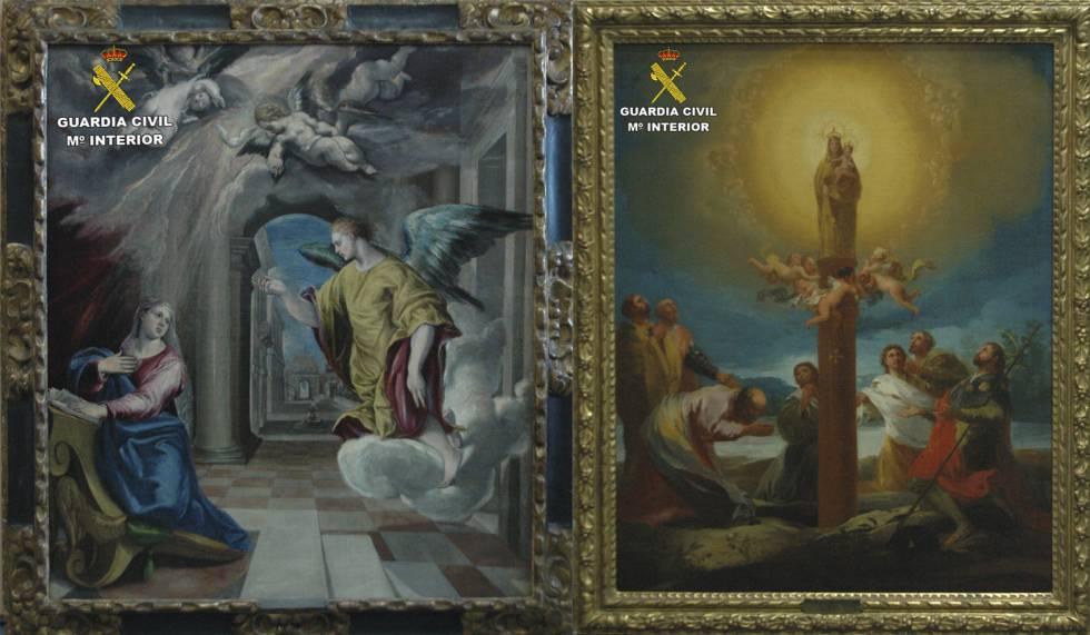 'La Anunciación' de El Greco y 'La aparición de la Virgen del Pilar', de Goya, las dos obras entregadas en depósito al MNAC.