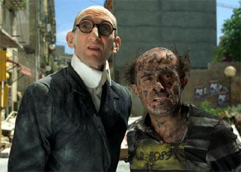 Benito Pocino (Mortadelo), a la izquierda, y Pepe Viyuela (Filemón) , en una secuencia de    Mortadelo y Filemón.