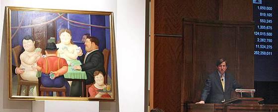 La obra de Botero  Jugadoras de cartas II , durante la subasta de este lunes en Sotheby's.