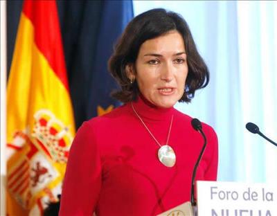 La presidenta de la Academia de Cine, Ángeles González-Sinde, durante su intervención