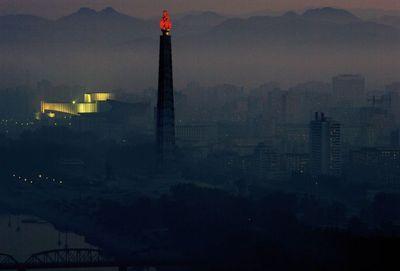 La torre de Juche, en honor de Kim II Sung, en Pyongyang.