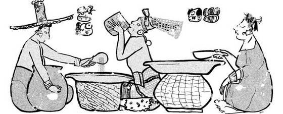 Dibujo de la pirámide de Calakmul que muestra a personas repartiendo gachas de maíz y los jeroglíficos que lo explican