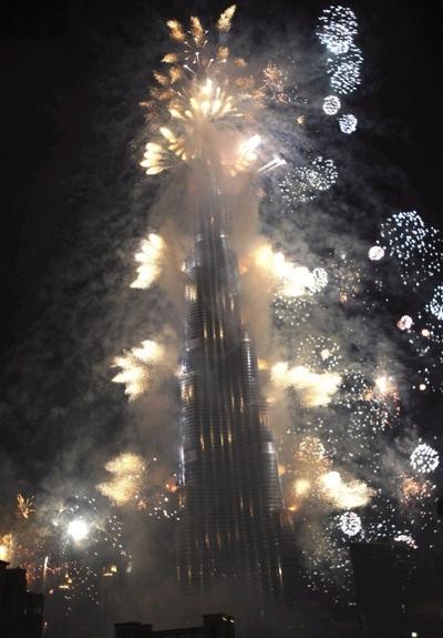Imagen de la inauguración de la torre de Dubai.