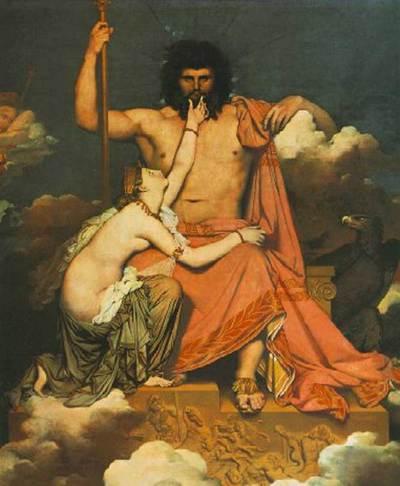 La novela 'Los infinitos', de John Banville, recrea las complicadas relaciones entre un grupo de dioses griegos y una familia actual. Es uno de los grandes títulos de la temporada. En la ia imagen, 'Tetis implorando a Zeus', de Ingres.