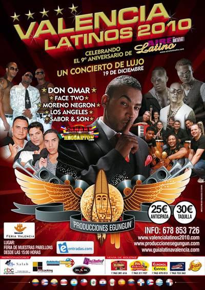 Cartel del promoción de Festival Latino en Valencia 2010