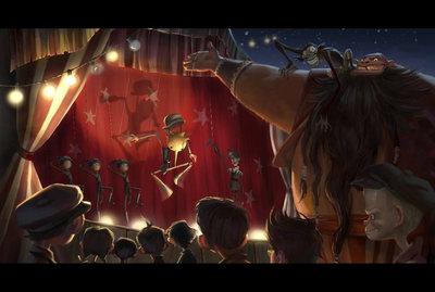 Dibujo artístico presentado por Gris Grimly y Del Toro para mostrar cómo será la película de 'Pinocho'