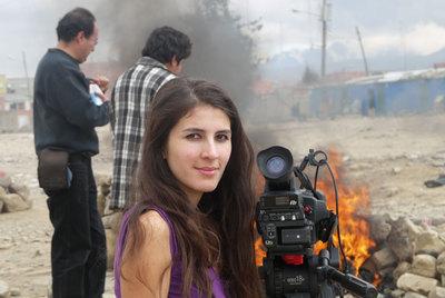 Amancay Tapia, durante el rodaje en Bolivia de su película  Campo de batalla.