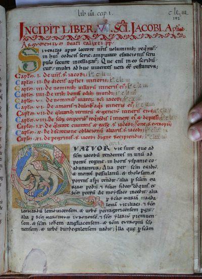 Reproducción de una página del Códice Calixtino original.