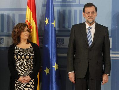 Sáenz de Santamaria y Rajoy antes de un Consejo de Ministros