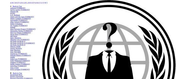 Sitio desde el que Anonymous ha enlazado a páginas para descargarse la discografía de Sony.